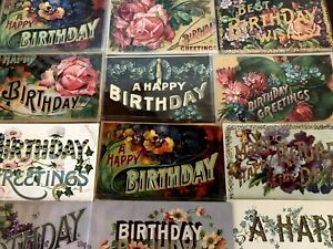 12-Large-Letter-BIRTHDAY-034-Happy-Birthday-034-Antique-Greetings-Postcards-Lot-b42