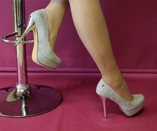 Plateau-Pumps Velour High Heels mit silbernem Absatz grau