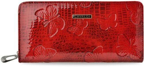 große glackierte Damen Brieftasche Cavaldi Portemonnaie Naturleder Muster rot
