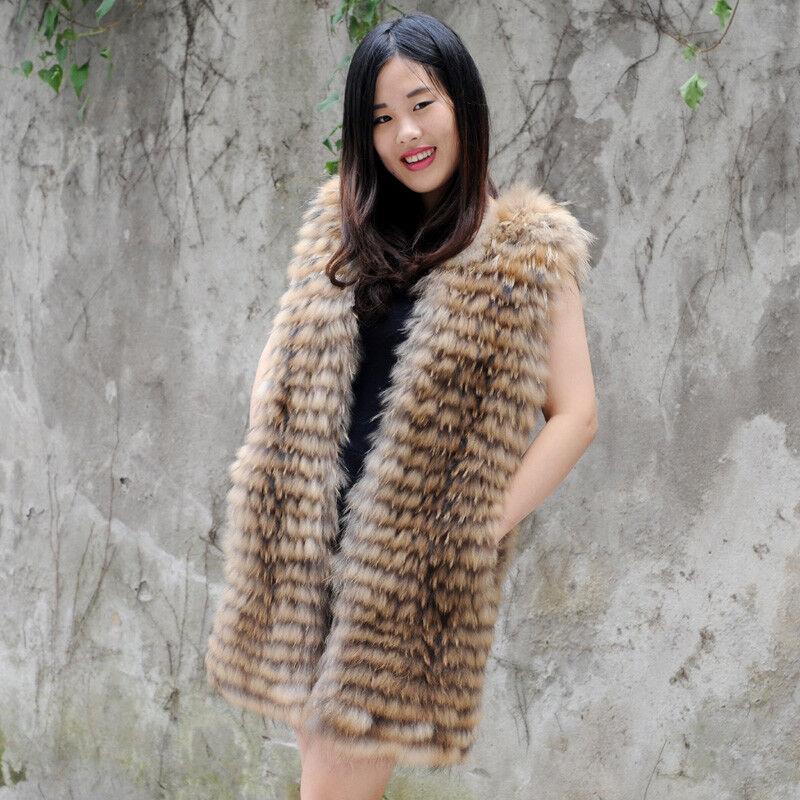 Genuine Finn Raccoon Fur Gilet In Natural color