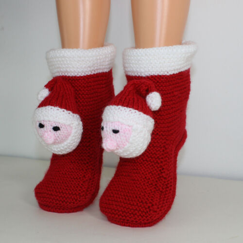 PRINTED INSTRUCTIONS CHILDRENS  SANTA HEAD CHRISTMAS SLIPPERS KNITTING PATTERN