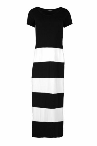 Womens Ladies Contrast Stripes Blocks Both Side Slit High Waisted Maxi Dress Top