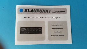Blaupunkt Reno SQR Operating Owners Manual 1980's Porsche 911 (New Reproduction)