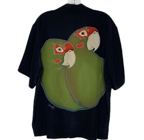 Men's Black Short Sleeve Button Down Shirt Parrot