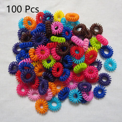 1//10//100 Ponytail FashionHair Ring Rubber Hair Accessory Phone Line UK Wholesale