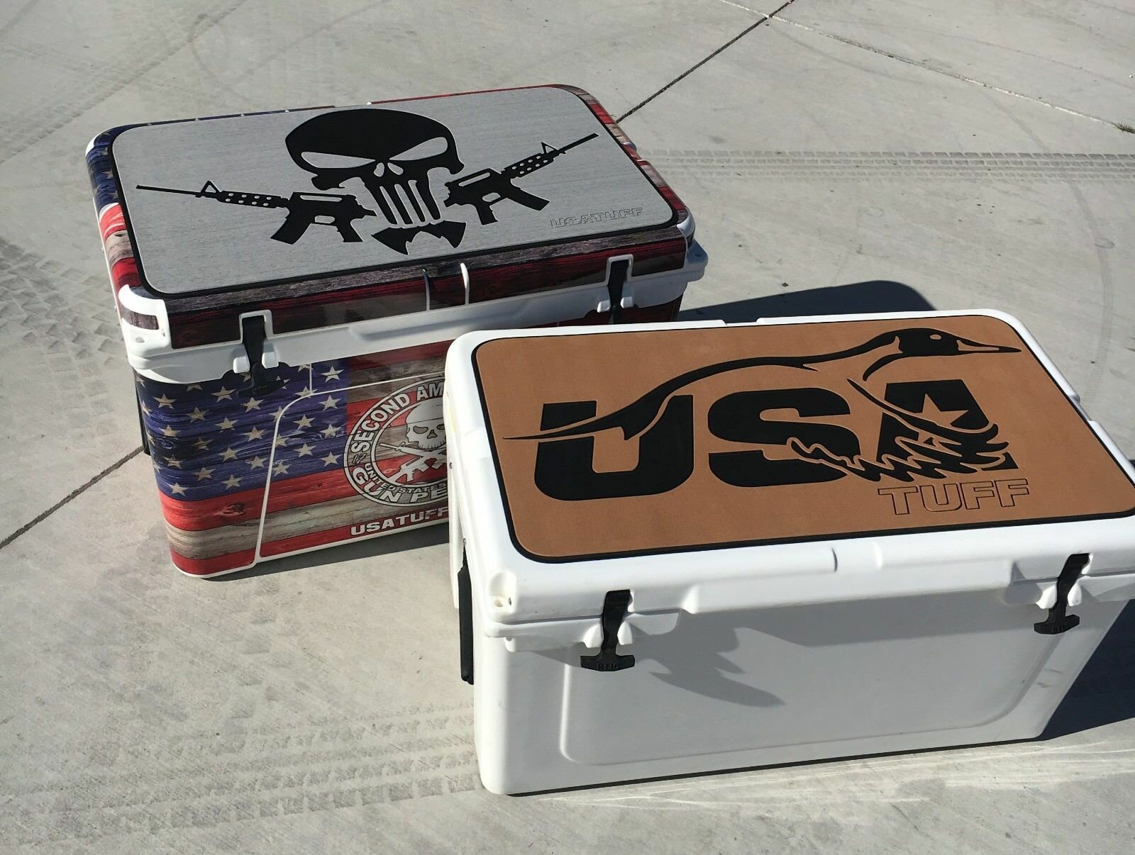 USATuff - YETI Cooler Pad - Fits 160qt Skull - Subdued Pirate Skull 160qt - Light grau 0a4cf0