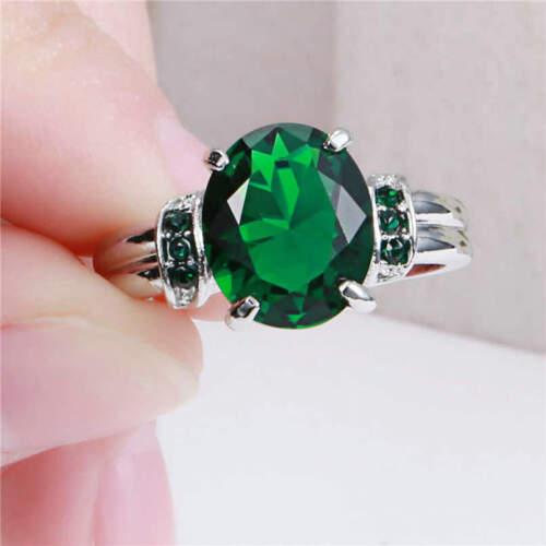 Verde Esmeralda Hermosas Mujeres Damas Vestido De Piedras Preciosas De Rodio Plateado Oval Anillo R 1//2