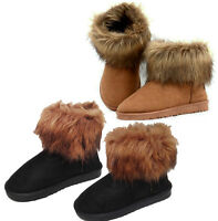 Womens Ladies Girls Ankle Flat Faux Fur Lined Boots Warm Winter Shoes 3-7 Size