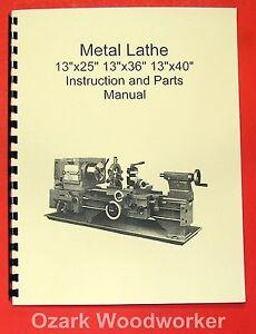 x x x metal lathe manual jet enco grizzly  image is loading 13x25 13x36 13x40 metal lathe manual jet enco