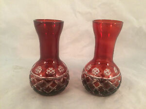 Lot-of-2-Red-Etched-Glass-Miniature-Vases-4-034-Tall-1-1-4-034-Diameter-Opening