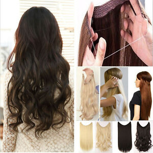 Us Long Real Straight Curly Wire Headband Clip In Hair