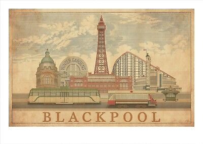 BLACKPOOL THE TOWER ENGLAND HISTORY Poster Vintage Canvas art Prints