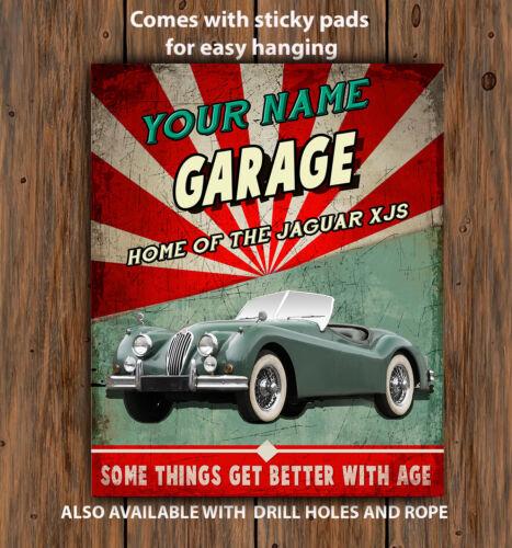 PERSONALISED JAGUAR Xk140  CAR GARAGE WORKSHOP Vintage  Metal Wall Sign
