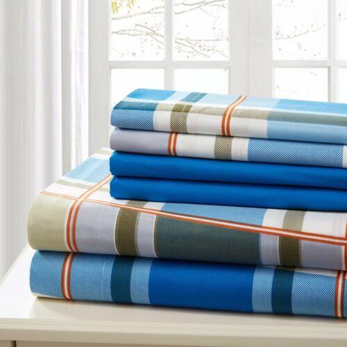 SHEET SET FULL 6 PIECE COTTON PERCALE PRINT SOFT DEEP POCKET  FREE WASH CLOTH