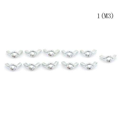 10Pcs M3//4//5//6//8//10 Galvanized Hand Tighten Nut Butterfly Nut Ingot Wing Nuts rL