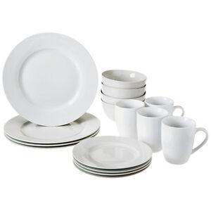 Image is loading 16Pc-Dinnerware-Dining-Set-Modern-White-Porcelain-Dinner-  sc 1 st  eBay & 16Pc Dinnerware Dining Set Modern White Porcelain Dinner Dessert ...