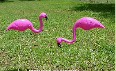 10 pc Mini PINK FLAMINGO YARD STAKES FLOCKING Lawn Ornaments Decorations