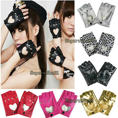 NEW Women Punk Leather Driving Biker Fingerless Mittens Dance Motorcycle Gloves