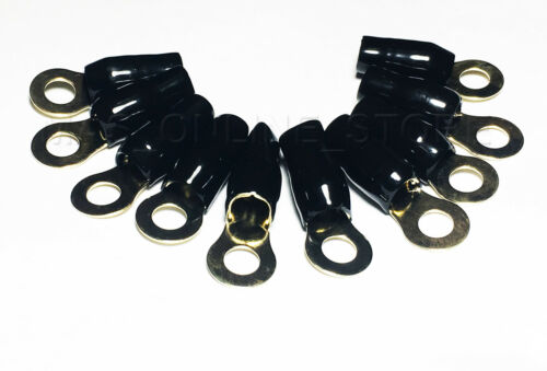 BLACK Boots 4 Gauge Ring Terminal 10 Pack 4 AWG WIRE Crimp Cable 5//16