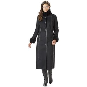 Outdoor-Spirit-Womens-Fleece-Lined-Coat-w-Fur-Look-Trim-Black-L-NKK4V-950