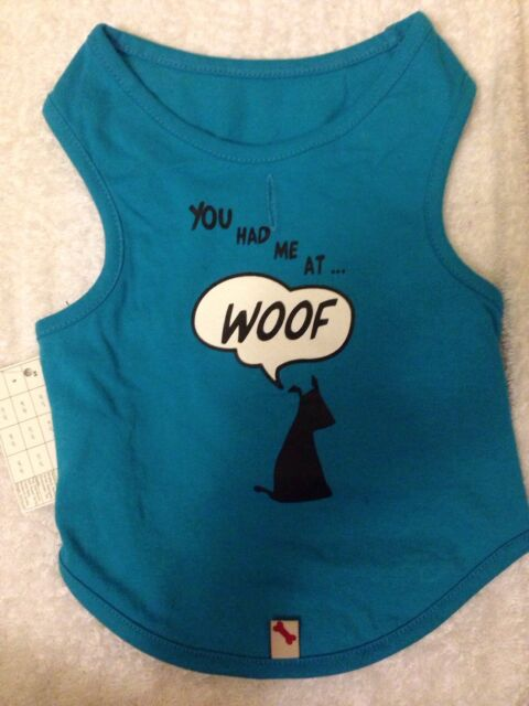 "Bailey and Bella Blue Dog T Shirt ""you had me at woof"" 100% cotton Size - S"