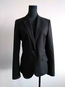 Herringbone-Black-Pinstripe-Wool-Suit-Jacket-Blazer-Corporate-Office-AU-8-S