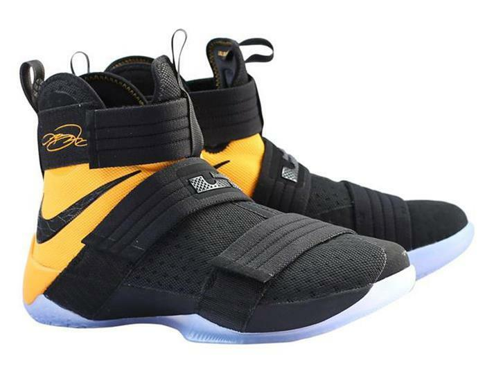 Mens Nike Nike Lebron Soldier 10 X SFG Sneakers New, Black Yellow 844378-007  Great discount