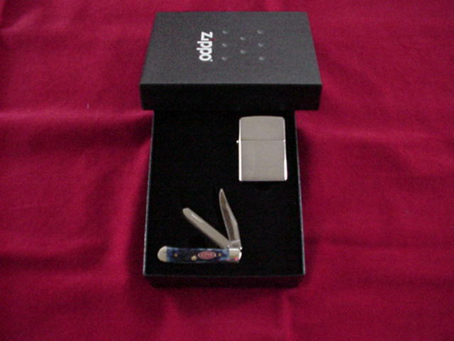 Zippo Brushed Chrome Lighter with CASE XX Tested Tiny Trapper Knife  NEW