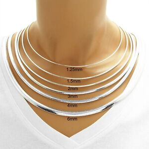 925 Sterling Silver Elegant Omega Chain Necklace - All Widths and Lengths