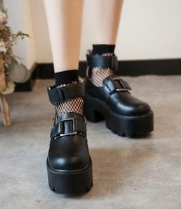 Women-039-s-Gothic-Chunky-Heel-Ankle-Strap-Platform-Creepers-Casual-Pumps-Shoes-Punk