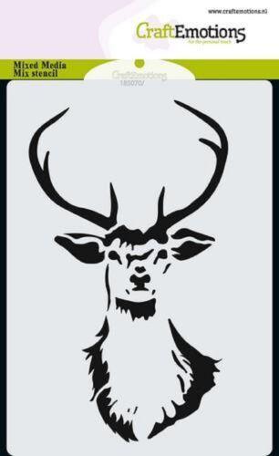 Reindeer Head  #0101-14.8cm x 10.4cm Craft Emotions A6 Mask Stencil