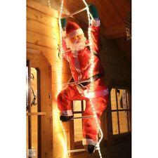 Weihnachtsmann Nikolaus auf Leiter 200/120 cm LED beleuchtet außen Weihnachten