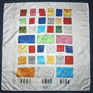 Modern-Art-ROGER-SELDEN-1977-Art-Foulard-ENVELOPES-Red-Yellow-Silk-Blue-34-SCARF