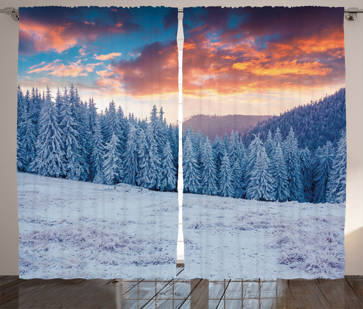 Nature Curtains Winter Snowy Forest Sky Window Window Window Drapes 2 Panel Set 108x84 Inches 4e5c51