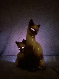Vintage-Khon-Siamese-Cat-Kitten-TV-Lamp-1950-s-Mid-century-Made-In-USA-Texas
