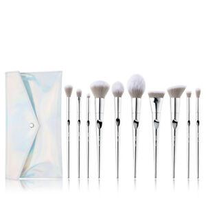 New-Jessup-Makeup-Brushes-Set-Foundation-Powder-Eye-10Pcs-Silver-amp-Cosmetic-Bag