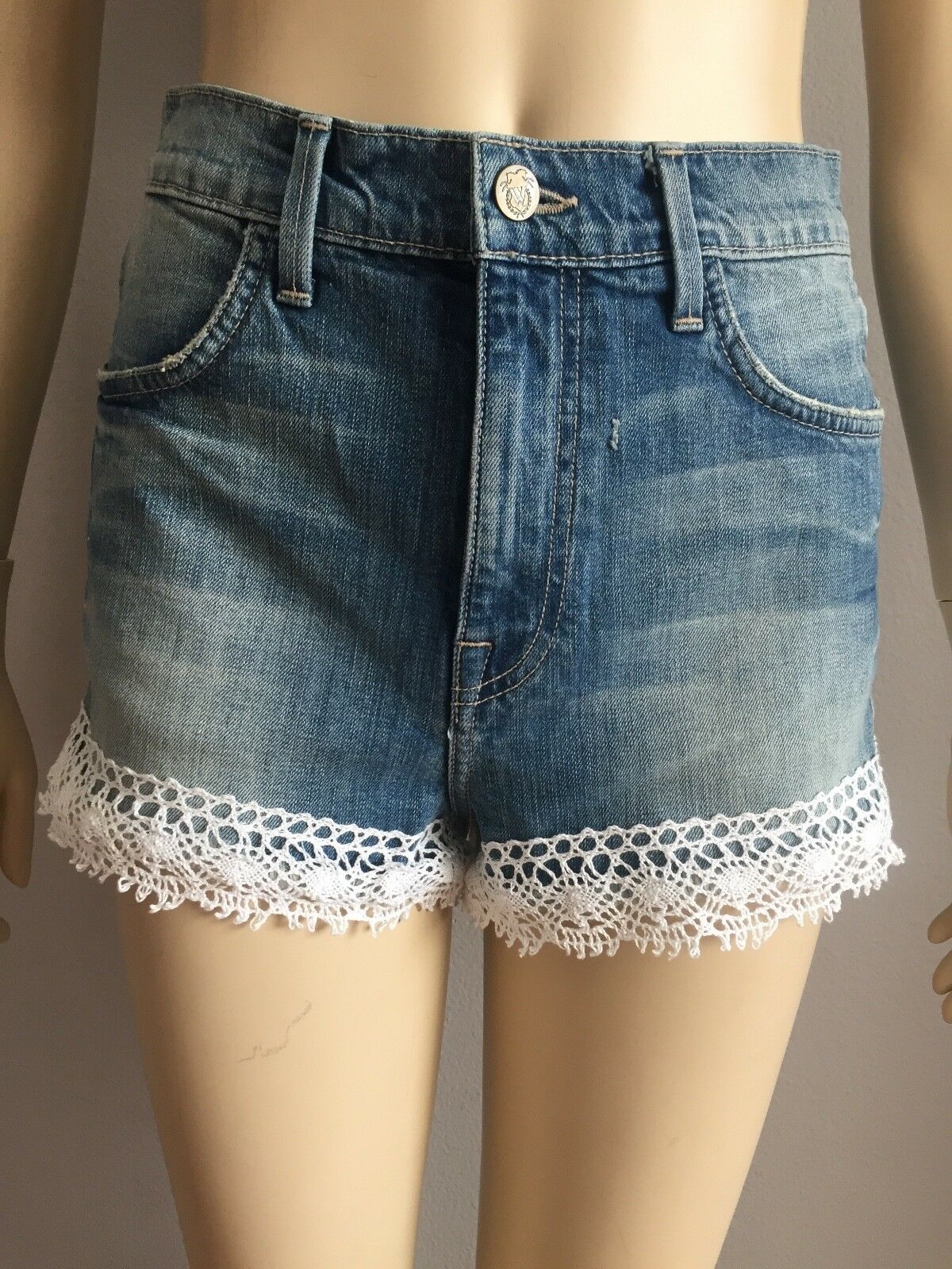 1c1825d1afc NWT Wildfox Jean Denim Shorts Mid Rise with Lace SZ 27 opwsew4562 ...