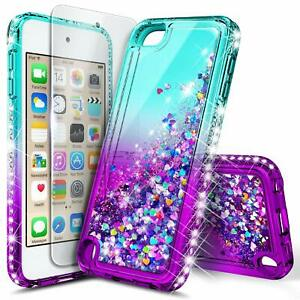 iPod-Touch-5th-6th-7th-Gen-Case-Liquid-Glitter-Bling-Cover-Screen-Protector