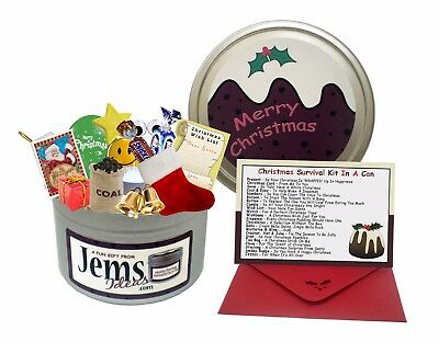 JEMSIDEAS Christmas Survival Kit In A Can Novelty Brother Xmas Gift /& Card