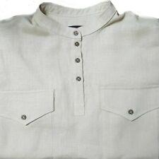Made in EU. HUBER Herren Leinen Hemd weiß Japan Stehkragen HU-0571 Regular Fit