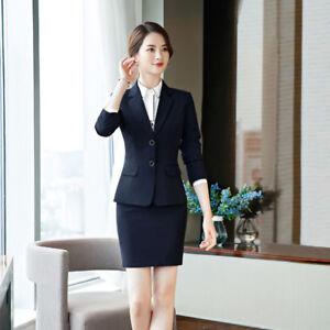 d63883e1527cca Caricamento dell'immagine in corso Elegante-Tailleur-completo-donna-blu- scuro-giacca-manica-