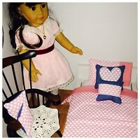 Sweet Heart Valentines Theme American Girl Doll Or 18 Dolls 7 Piece Bedding Set