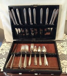 35-PC-Oneida-Community-Silverplate-Grosvenor-1921-Pattern-Bestecke-Set-amp-Brustumfang