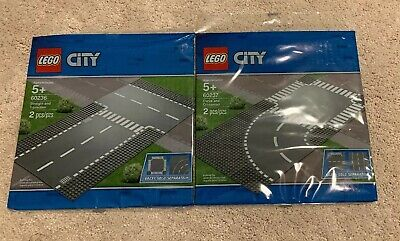 NEW In Package Lego Baseplate 60236 60237 Straight T-junction Curve Crossroad