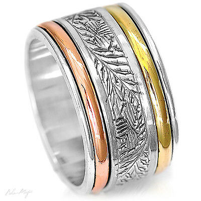 Sterling Silver 925 Spinning Ring Meditation 3 Tone Spinner Swirls Leaves Boho