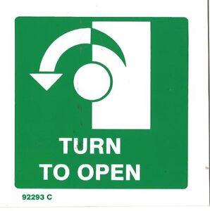 Tournez à Gauche Pour Ouvrir Signe Exit Sign Plastique Rigide 100x100mm-afficher Le Titre D'origine Ukrrqiig-07212514-691491549