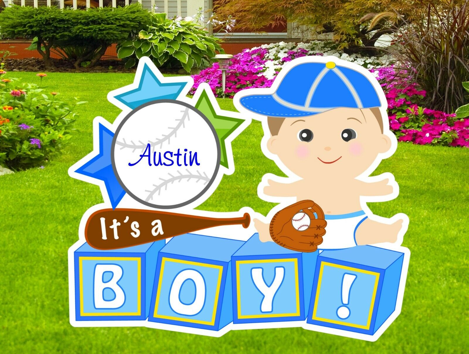 It's a Boy Yard Announcement Card Sign, Personalized Baby Baseball Decoration