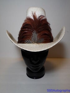 6bf58d70688aa Rare Vintage STEVENS WESTERN White COWBOY HAT Brown Feathers RANCH ...