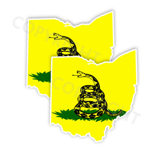Dont Tread on Me OHIO State Shape Decals Stickers Set of 2 in Various Sizes CL
