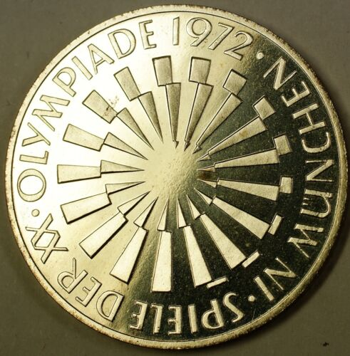 1972 J German 10 Marks Silver Coin Olympic Spiral Gem Proof